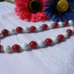 Red & White Mountain Jade Necklace,..