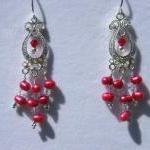 Earrings, Red Dancing Pearls, Swaro..