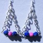 Earrings, Dangle, Blue, Pink, Trian..