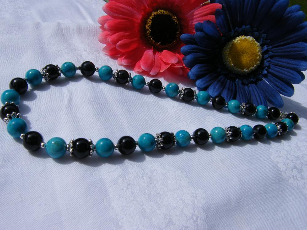 "Turquoise & Black Riverstone Necklace, 18"" Length"