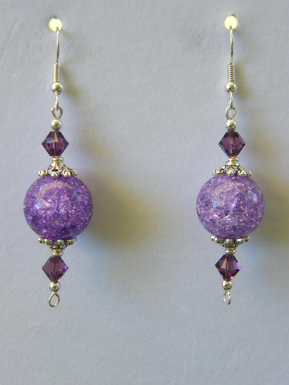 Earrings, Purple Cracked Glass & Swarovski Crystals