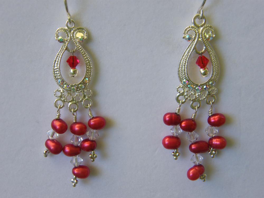 Earrings, Red Dancing Pearls, Swarovski Crystals