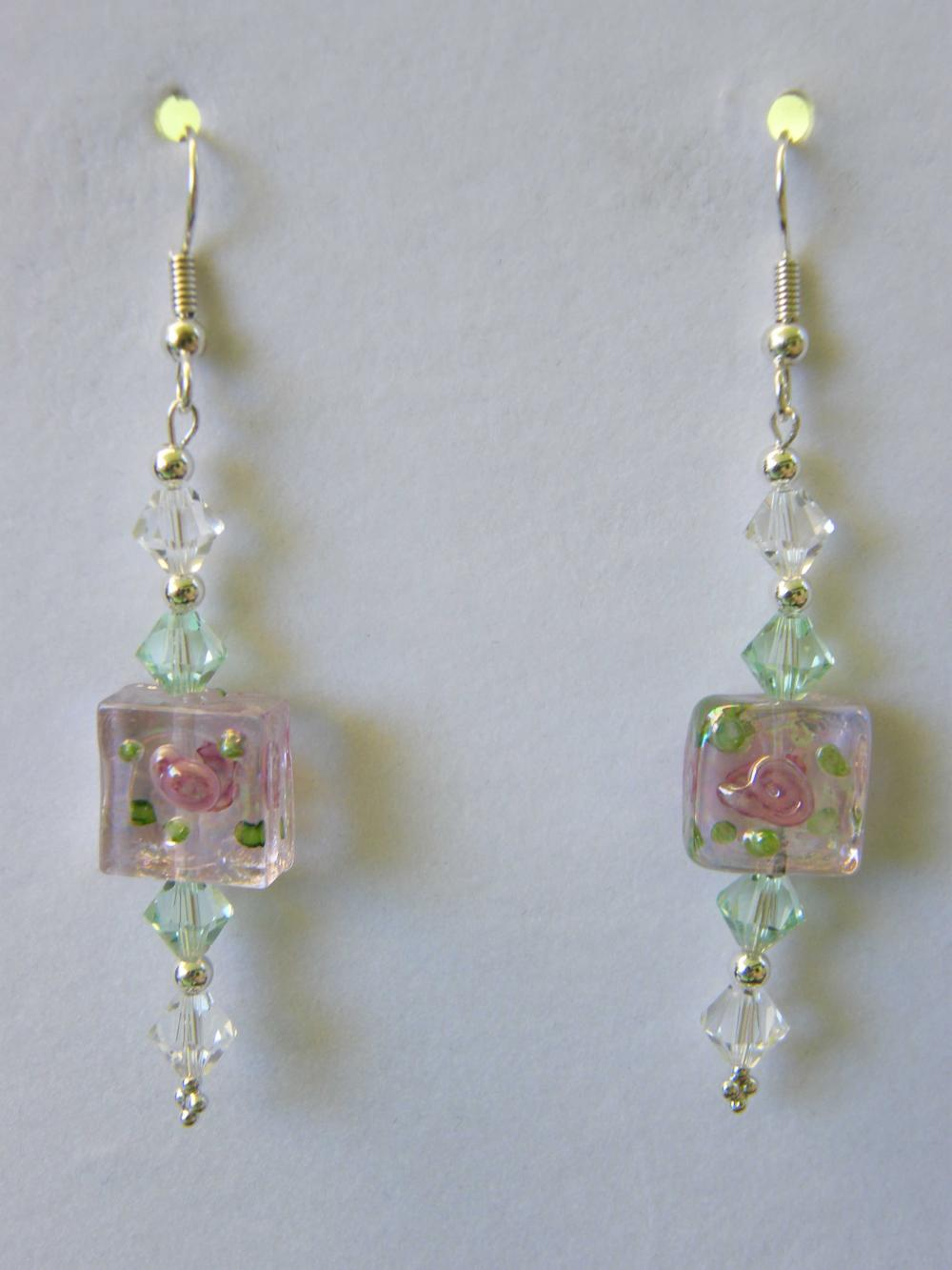 Earrings, Pink Lampwork Swarovski Crystals