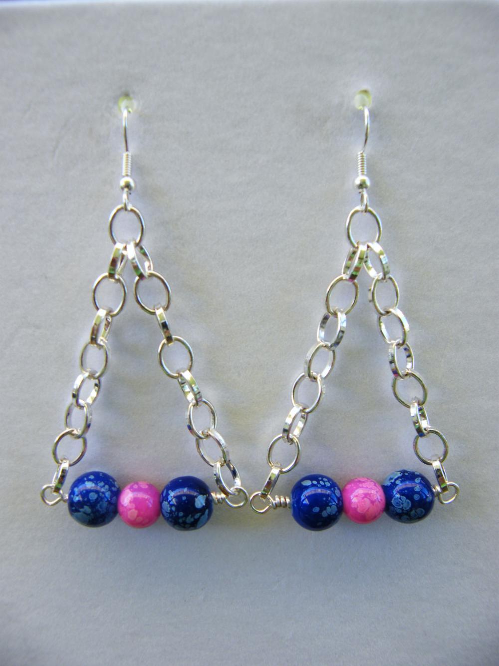 Earrings, Dangle, Blue, Pink, Triangle