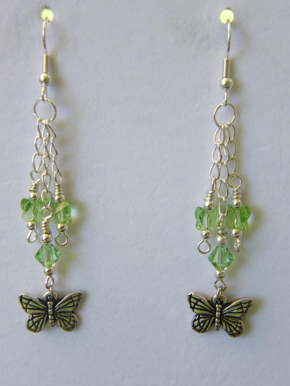 Earrings, Dangle Peridot, Butterfly