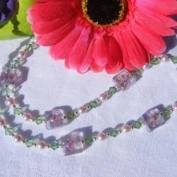 "Pink Swarovski Pearl & Peridot Crystal Necklace with Pink Flower Lampwork Beads, 24-1/2"" Length"