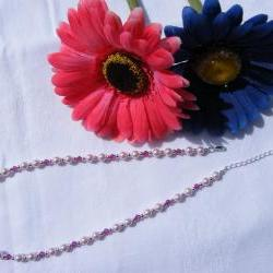 Pink Swarovski Pearl Necklace with Fushia Crystals, Adjustable Length
