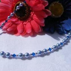 Light Blue Swarovski Pearl Necklace with Capri Blue Crystals, Adjustable Length