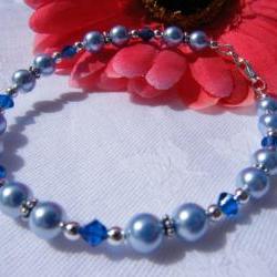 "Light Blue Swarovski Pearl Bracelet with Capri Blue Crystals, 7-3/4"" Length"