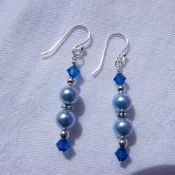 Light Blue Swarovski Pearl Earrings with Capri Blue Crystals