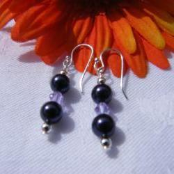 Deep Purple Swarovski Pearl Earrings with Violet Crystals