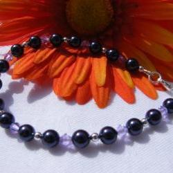 "Deep Purple Swarovski Pearl Bracelet with Violet Crystals, 7-1/2"" Length"