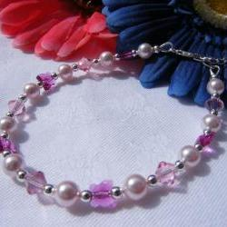 Pink Swarovski Pearl & Crystal Bracelet with Fushia Butterfly Crystals, Adjustable Length