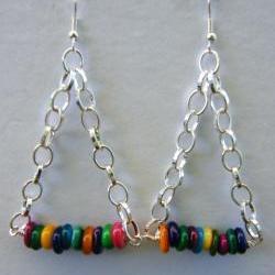 Earring, Dangle, Multi Colored, Triangle