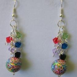 Earrings, Swarovski Crystals, Polymer Clay