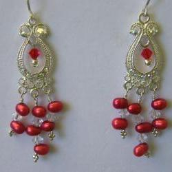 Earrings, Red Dancing Pearls, Swarovski Crystals