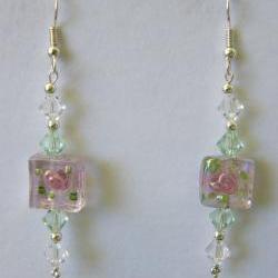 Earrings, Pink Lampwork Swarovski Crystals